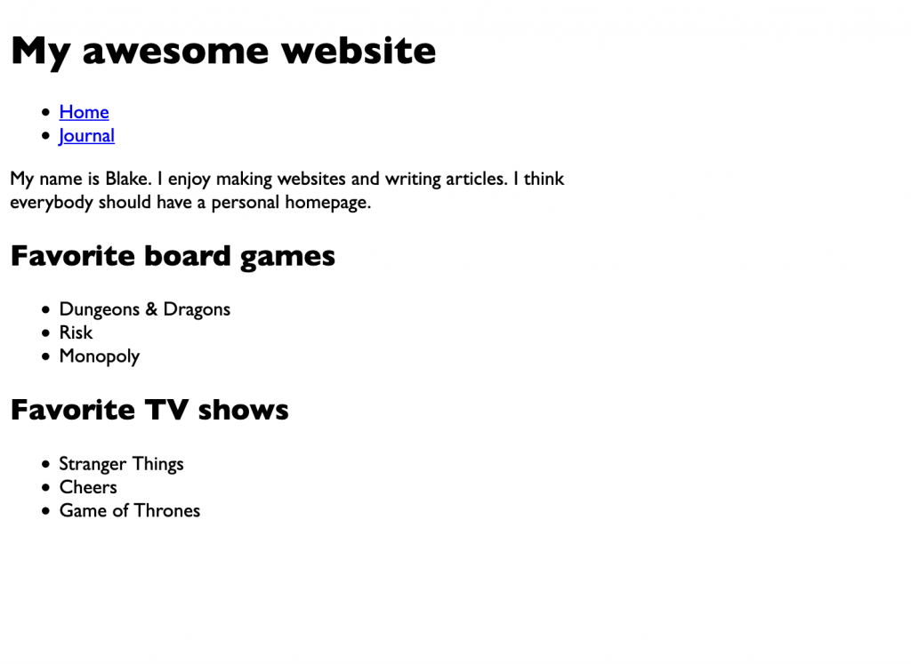A screenshot of the webpage with the font changed and the body width narrowed, aligned toward the left side of the window.
