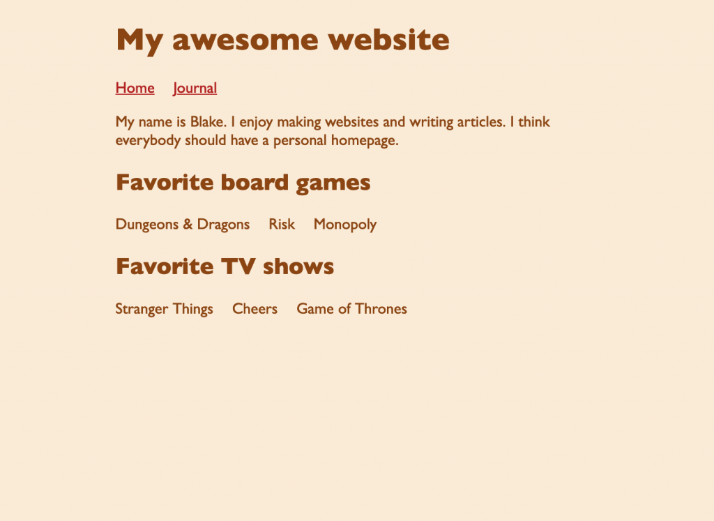 Screenshot of webpage showing the menu links sitting horizontally in a row. The page has two other lists which are now also sitting horizontally without bullets.