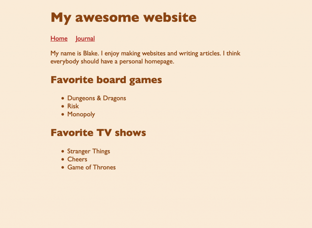 Screenshot of the webpage showing the menu as a horizontal list without affecting the other lists on the page.