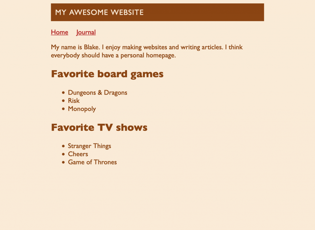 Screenshot of the webpage. The main heading now appears inside of a dark box with light, all-caps text.