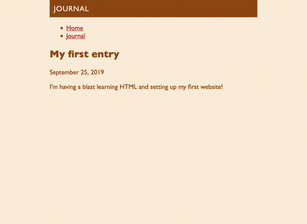 Screenshot of the Journal page. The text and color styles from the homepage have also been applied to this page.