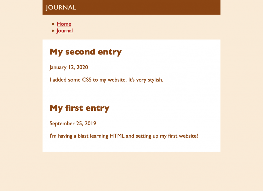 Screenshot of the journal page with a second article added.